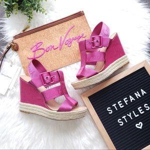 Coach Maryanne Pink Wedge Espadrille Sandals